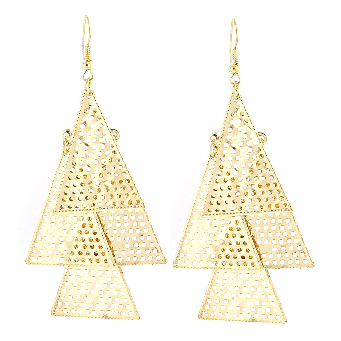 Lady Metal Triangle Shaped Pendant Hook Dangle Eardrop Earrings Pair Gold Tone