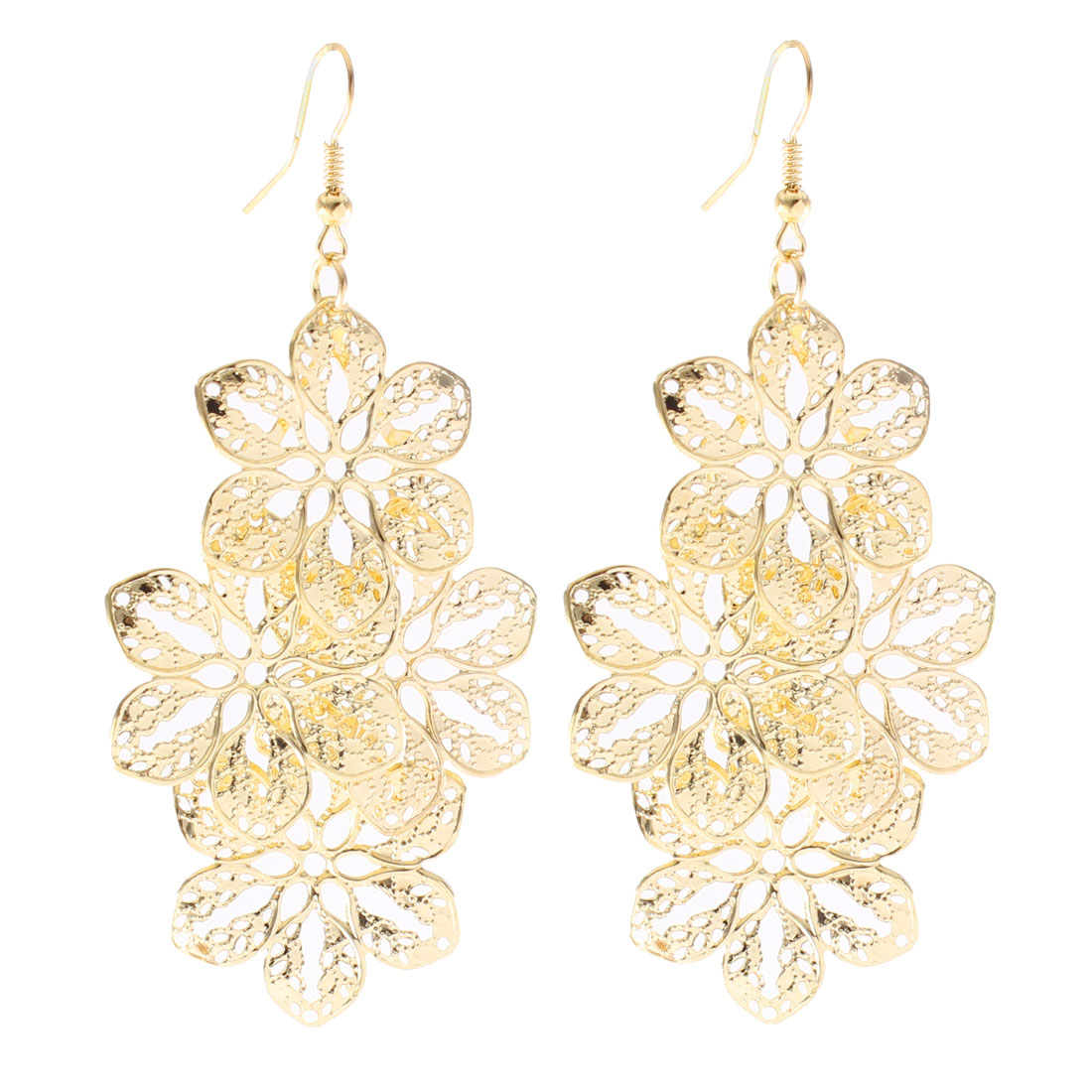 Pair Gold Tone Hollow Out Flower Pendant Wedding Party Fish Hook Earrings