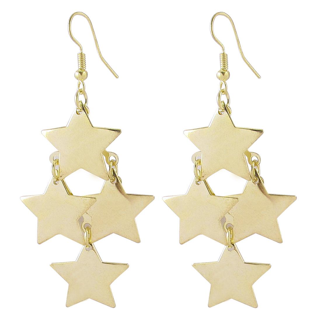 Lady Hollow Star Shape Dangle Chandelier Fish Hook Earrings Gold Tone Pair