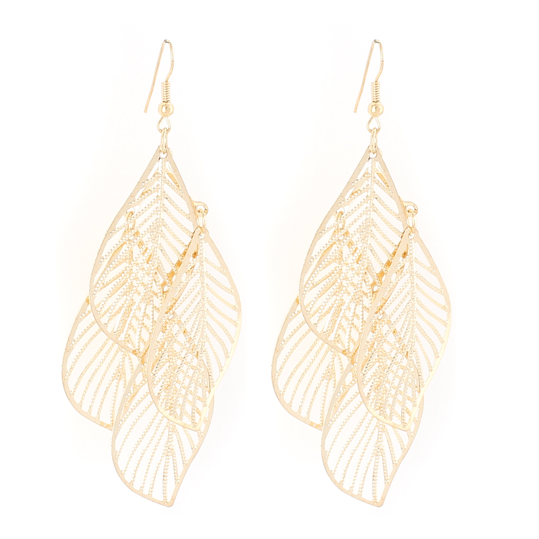 Lady Hollow Leaf Shape Dangle Chandelier Fish Hook Earrings Gold Tone Pair
