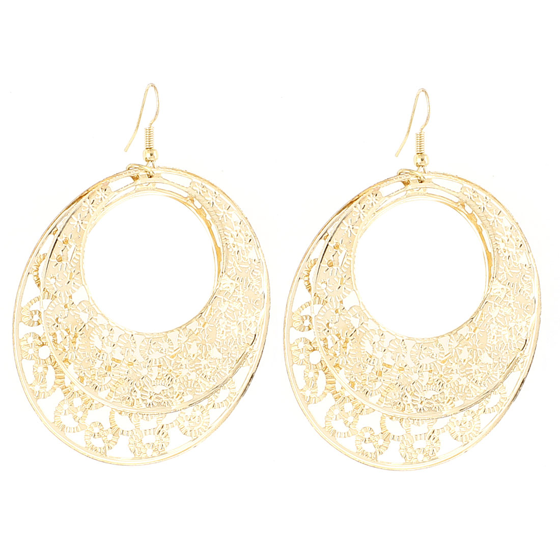 Lady Hollow Carved Ring Circle Dangle Fish Hook Earrings Eardrop Gold Tone Pair