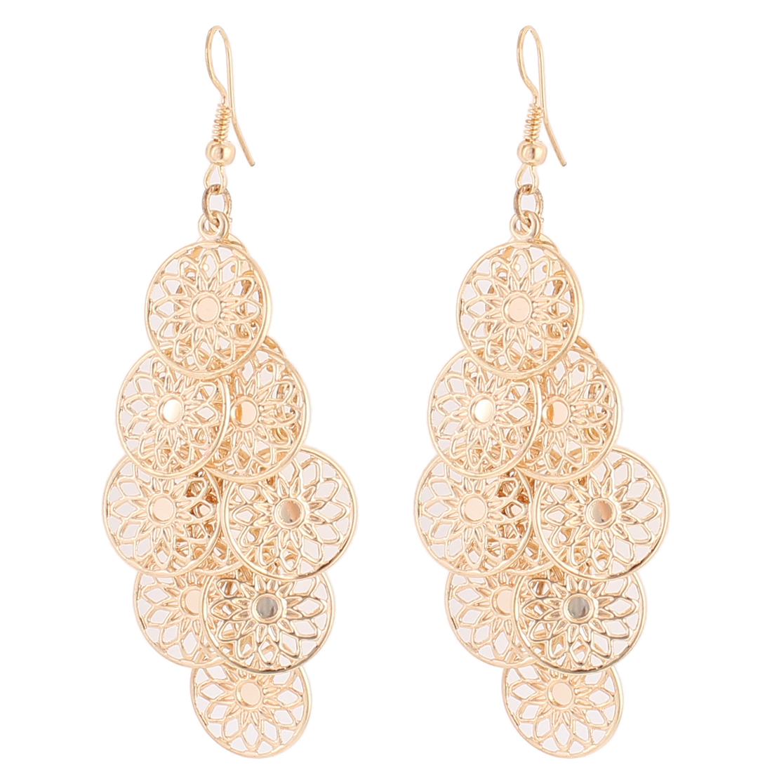 Woman Hollow Flower Circle Dangle Chandelier Fish Hook Earrings Gold Tone Pair