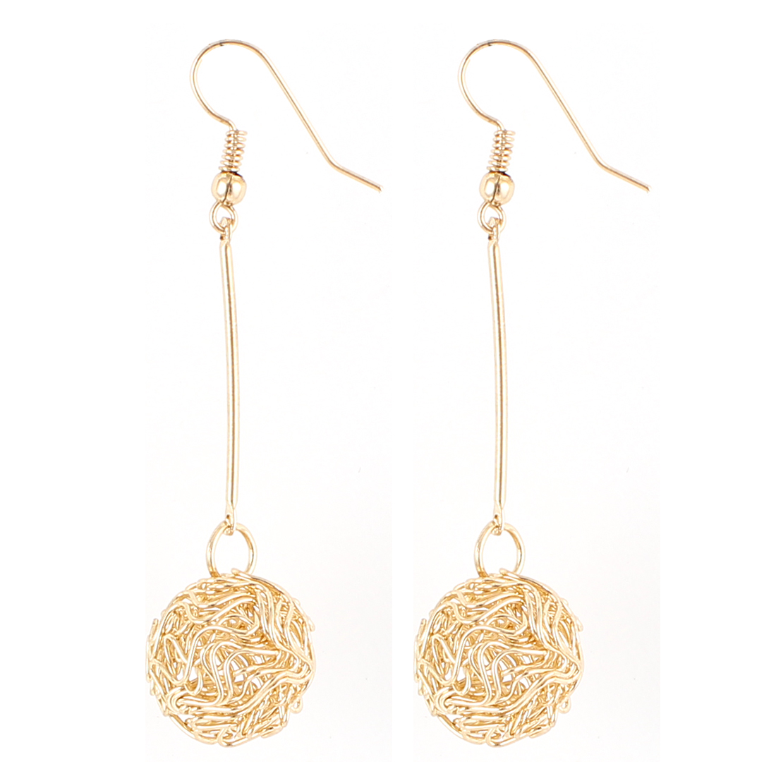 Lady Round Knot Dangle Drop Fish Hook Earrings Eardrop Earbob Gold Tone Pair