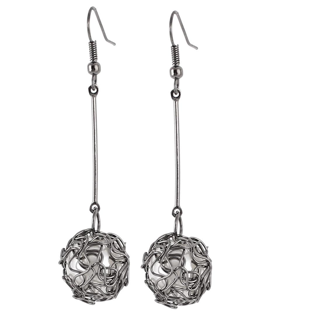 Lady Imitation Pearls Ball Shaped Pendant Fish Hook Eardrop Earrings Pair Silver Tone