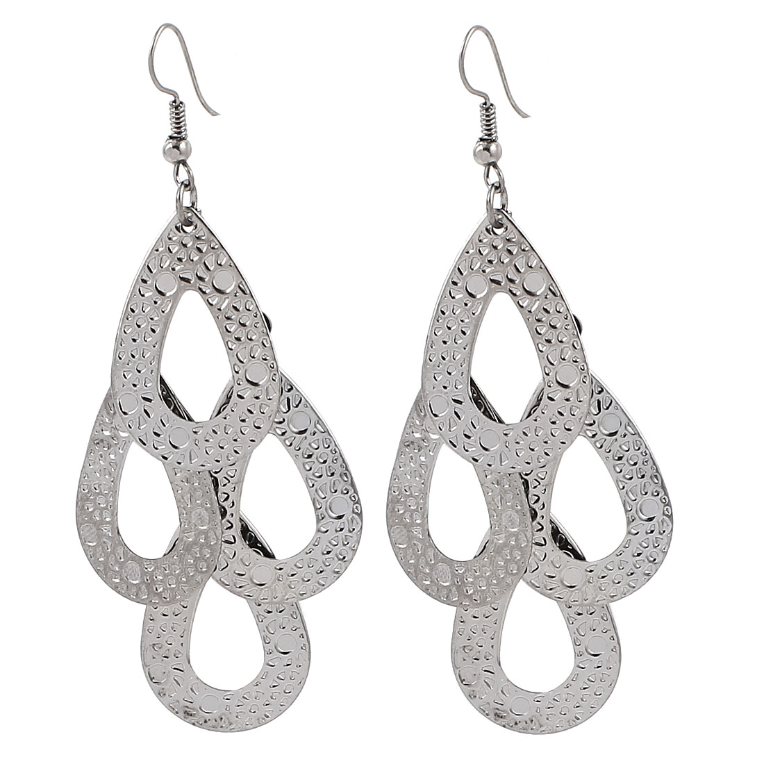 Lady Party Decor Metal Oval Shape Pendant Hook Dangle Earrings Pair Silver Tone