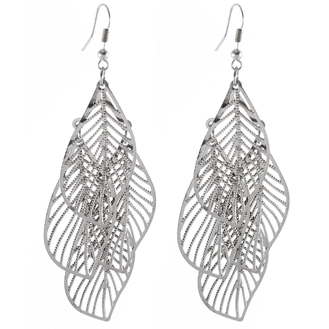 Pair Silver Copper Tone Hollow Out Leave Shape Pendant Hook Earrings Eardrop