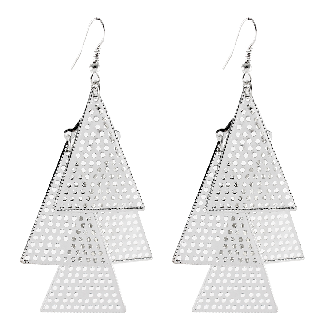 Ladies Silver Tone Hollow Out Triangle Pendant Drop Dangle Hook Earrings Pair