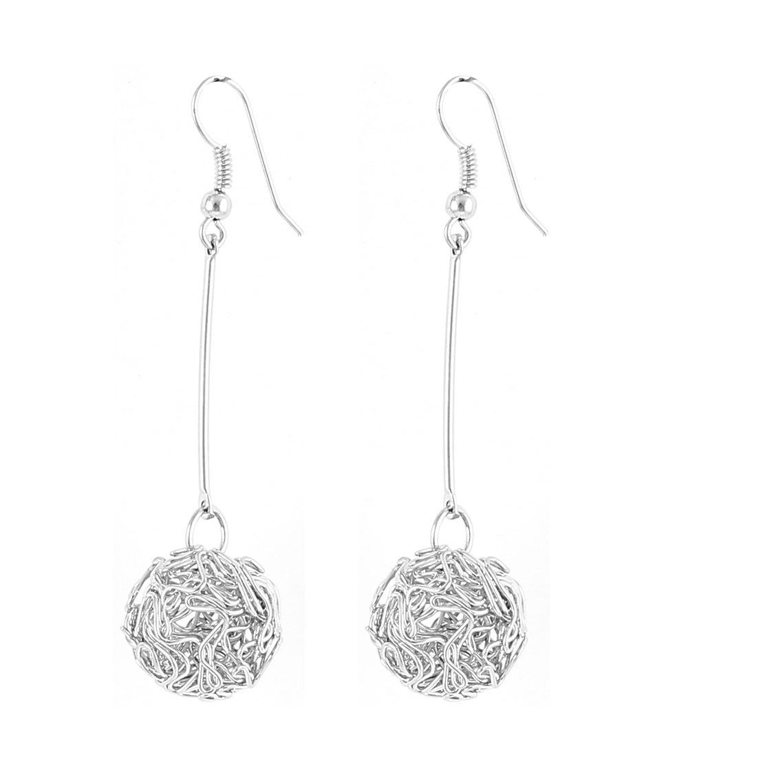 Lady Round Knot Dangle Drop Fish Hook Earrings Eardrop Earbob Silver Tone Pair