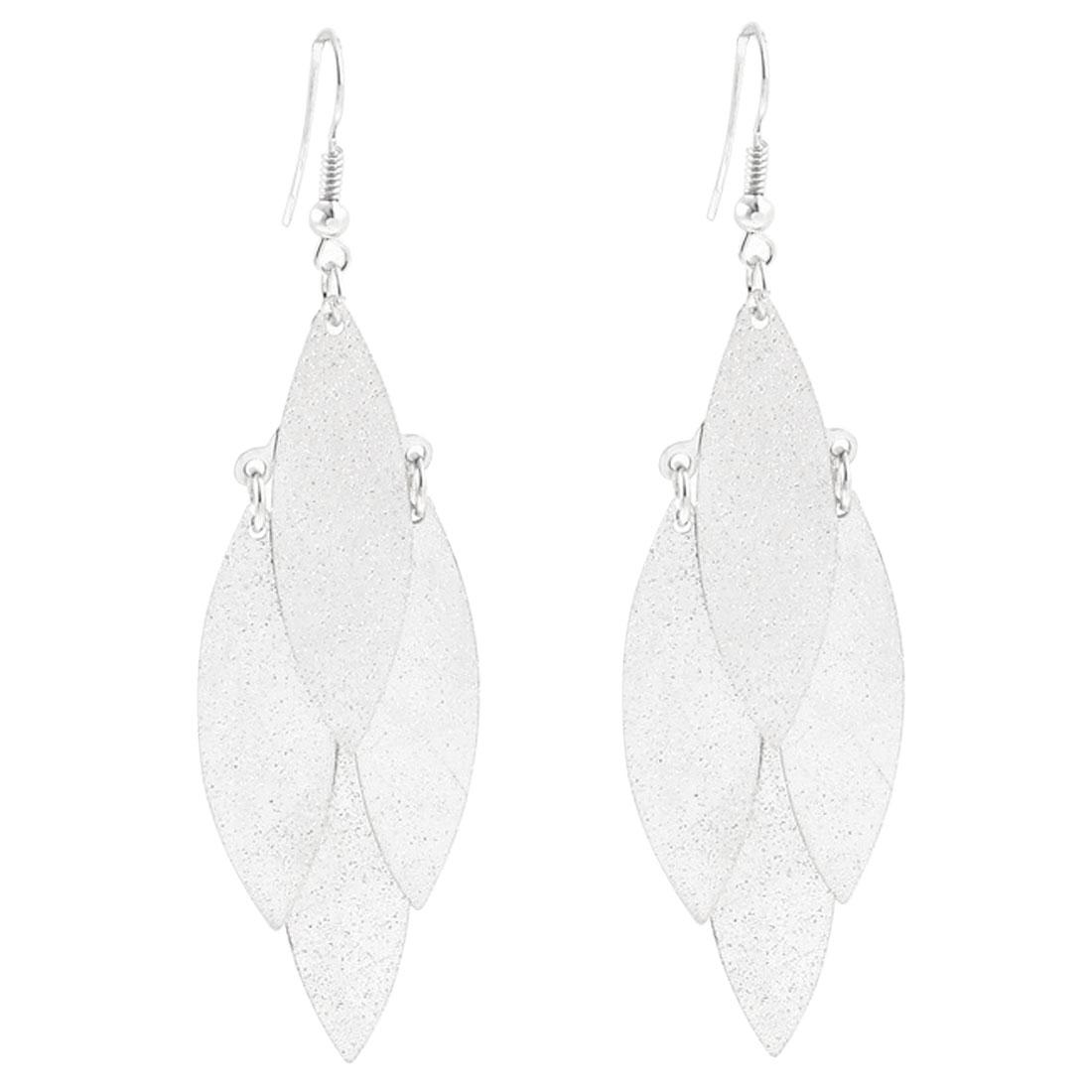 Leave Shape Pendant Hanging Fish Hook Earrings Eardrop Pair Silver Tone
