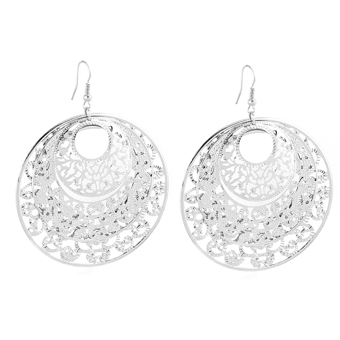 Lady Metal Round Shaped Pendant Hook Dangle Eardrop Earrings Pair Silver Tone