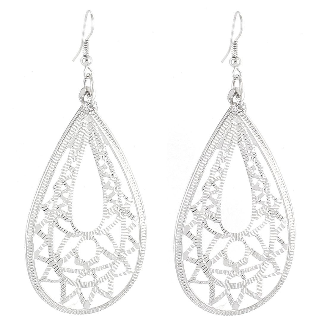 Lady Waterdrop Shape Metal Dangle Fish Hook Earrings Ornament Silver Tone Pair