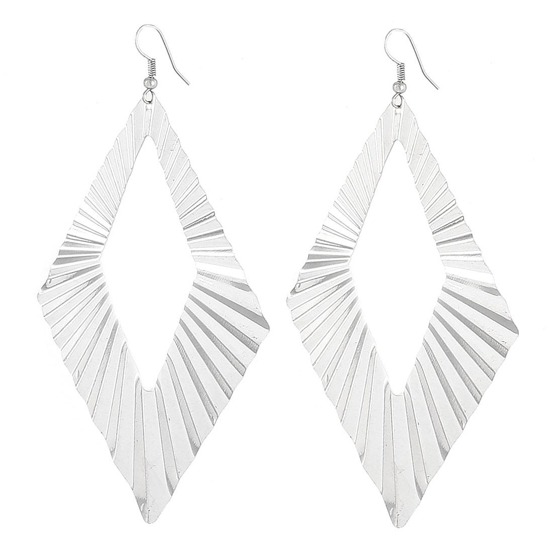 Lady Hollow Rhombus Metal Dangle Fish Hook Earrings Ornament Silver Tone Pair