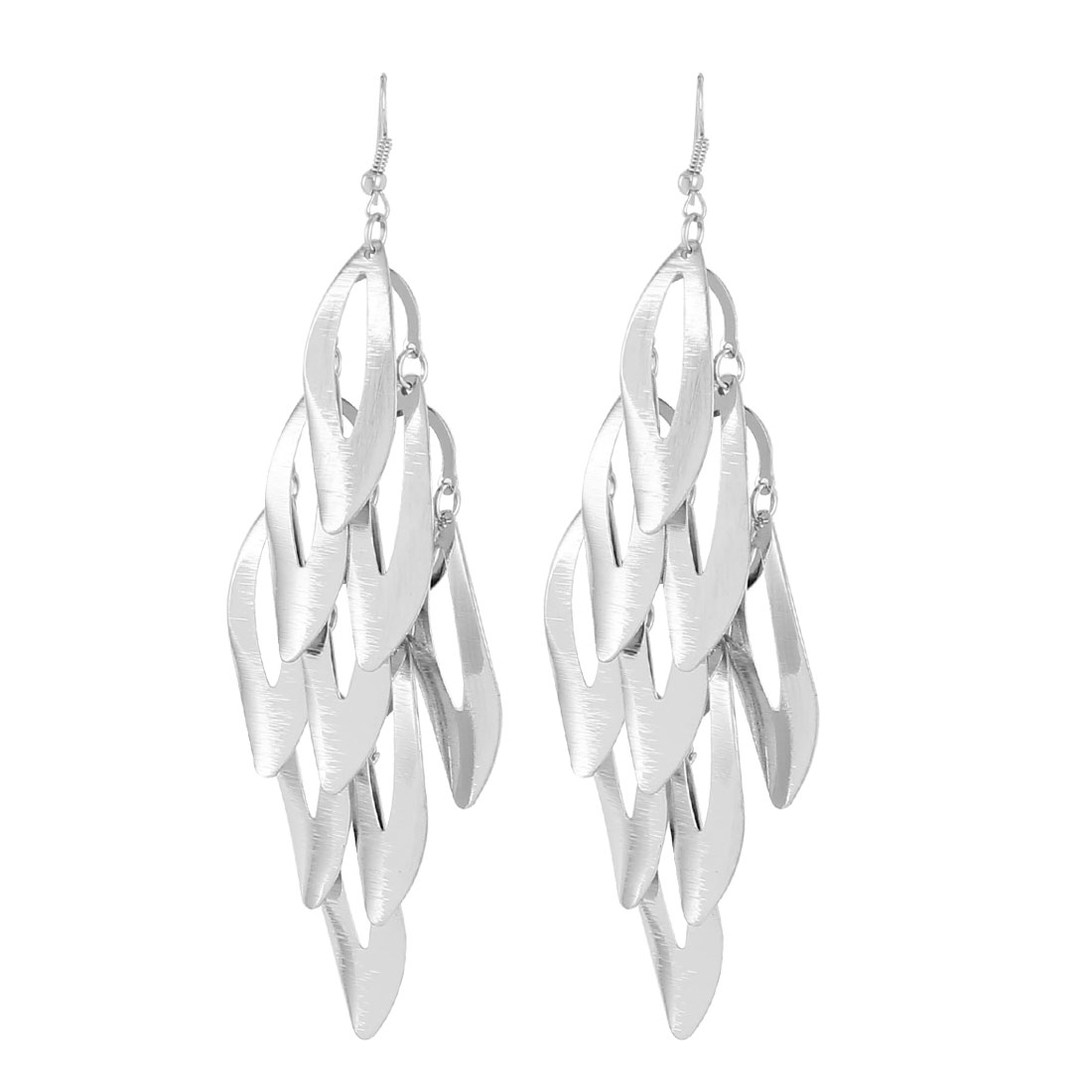 Lady Hollow Olive Shape Dangle Chandelier Fish Hook Earrings Silver Tone Pair