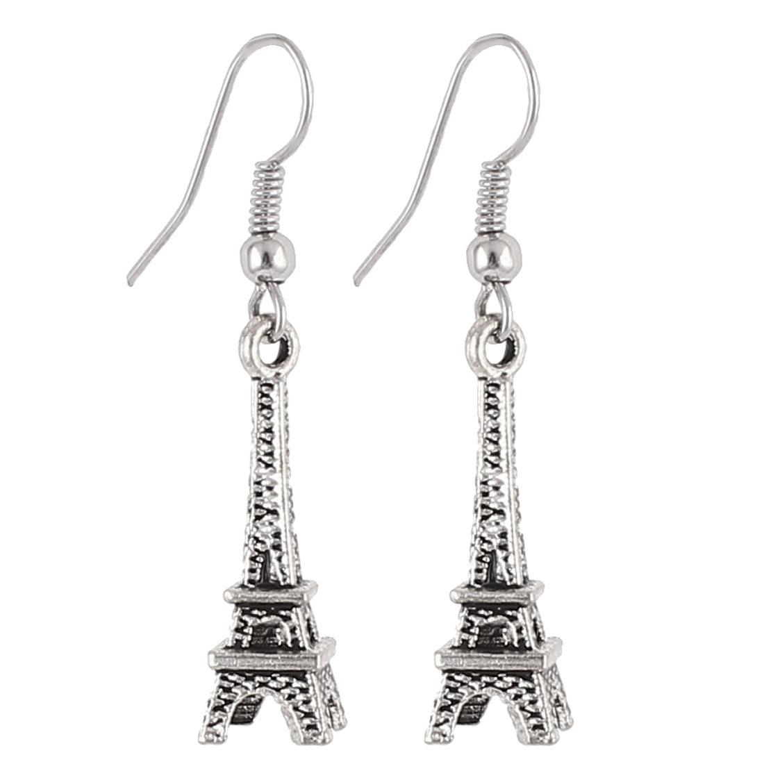 Lady Eiffel Tower Decor Dangling Pierced Eardrop Hook Earrings Silver Tone Pair