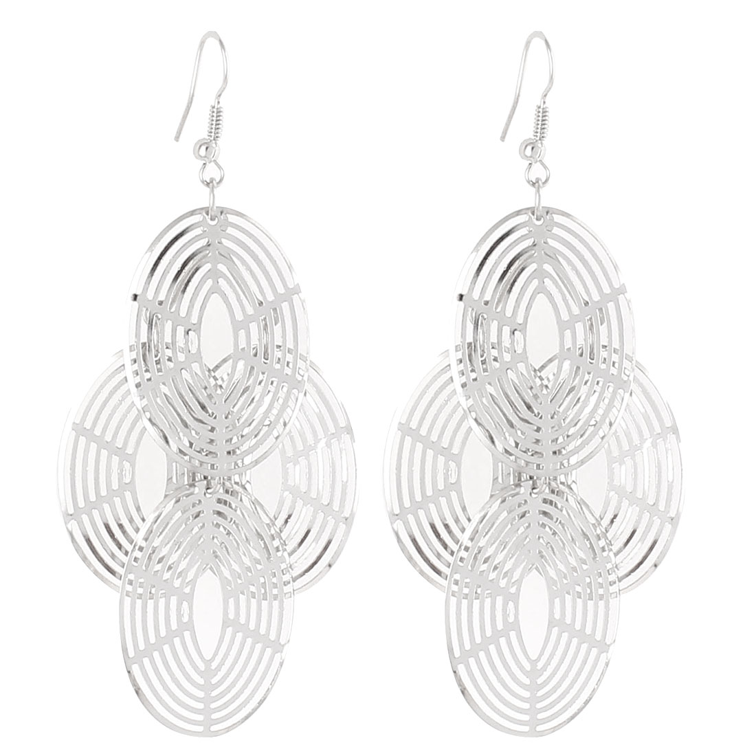 Hollow Oval Shape Metal Dangle Chandelier Fish Hook Earrings Silver Tone Pair