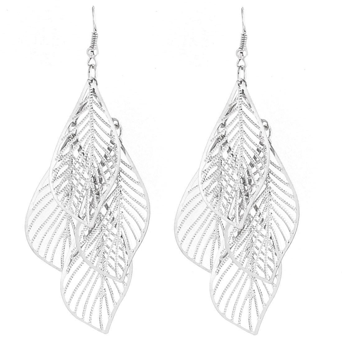 Lady Hollow Leaf Shape Dangle Chandelier Fish Hook Earrings Silver Tone Pair