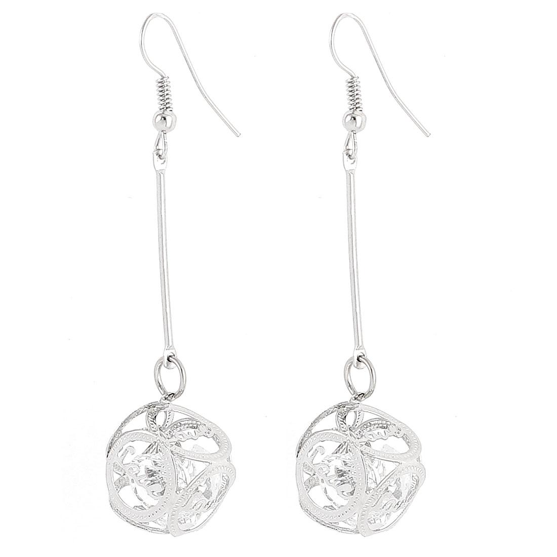 Lady Love Print Cubic Dangle Drop Hook Earrings Eardrop Earbob Silver Tone Pair