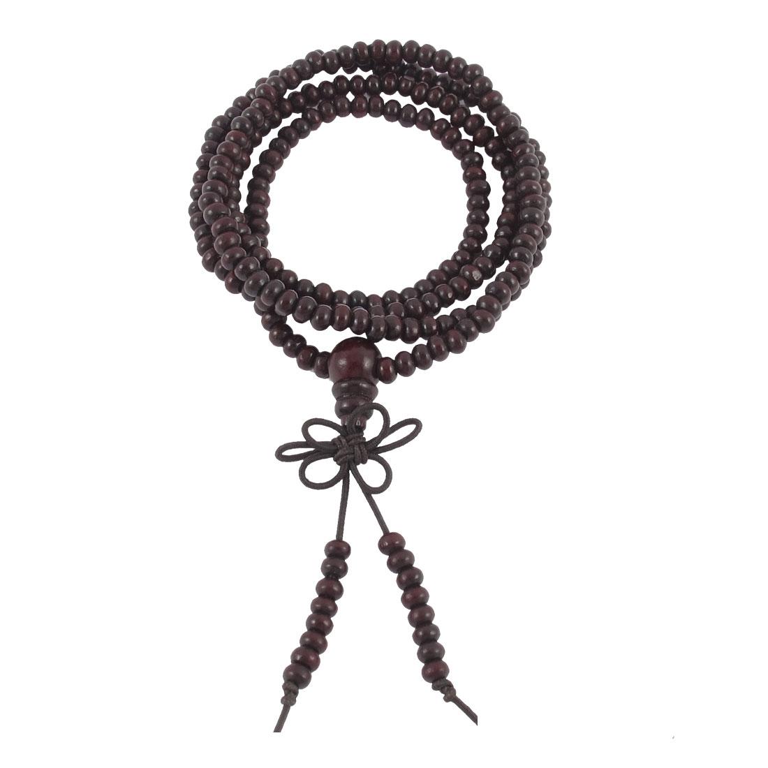 Woman Red Sandalwood 216 Mini Beads Adornment Knot Pendant Elastic Bracelet Bangle
