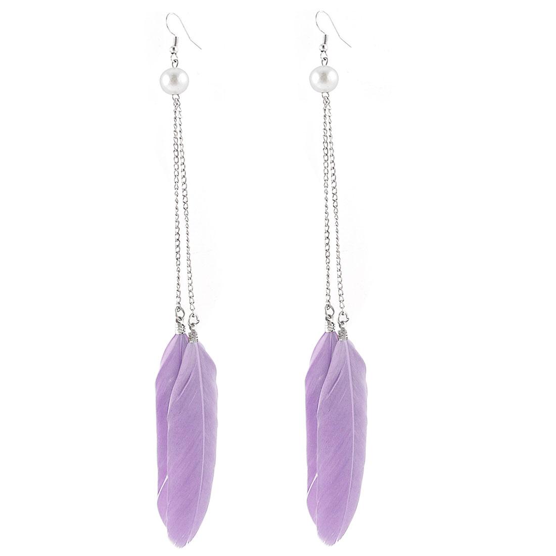 Long Chain Beaded Faux Feather Detail Fish Hook Earrings Eardrop Pair Purple