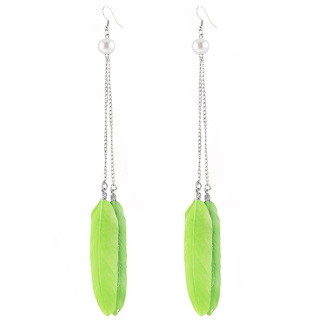 Green Faux Feather Decor Beading Fish Hook Earrings Eardrop Pair for Woman