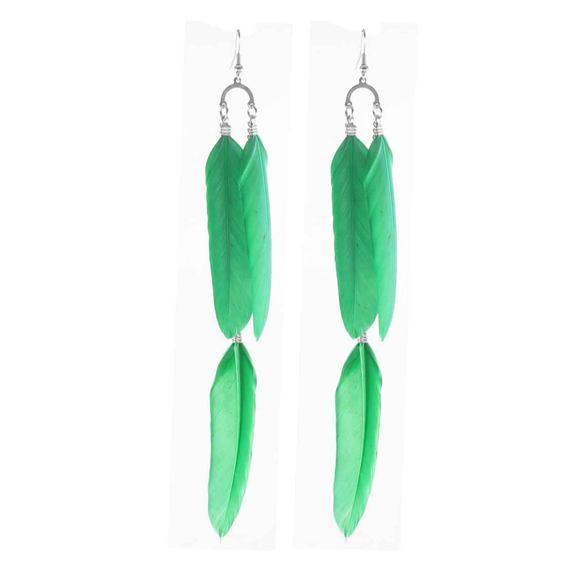 Tassel Chain Green 3 Faux Feather Adorn Hanging Hook Earrings Pair