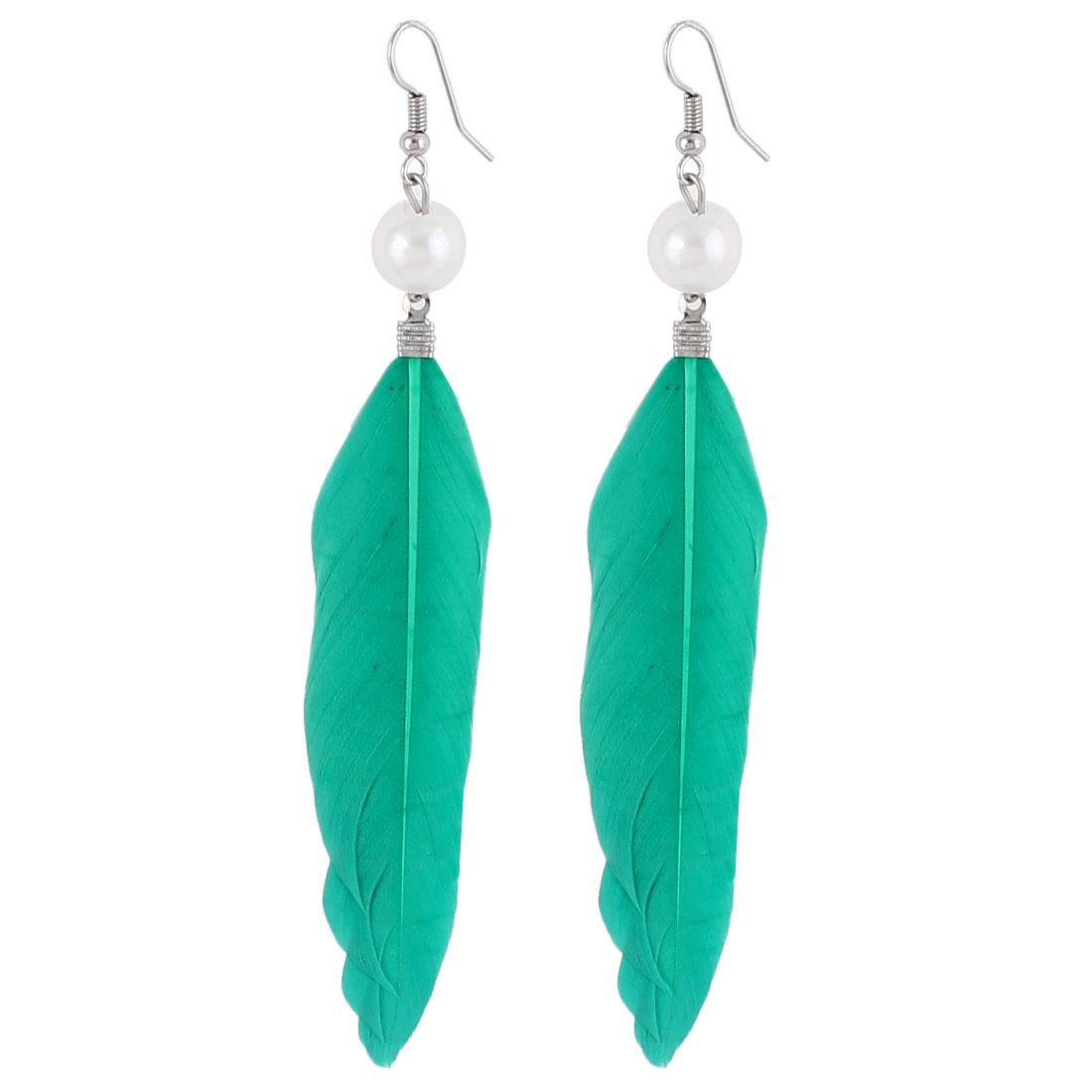 Women Faux Feather Pendant Fish Hook Dangle Earrings Eardrop Pair Teal