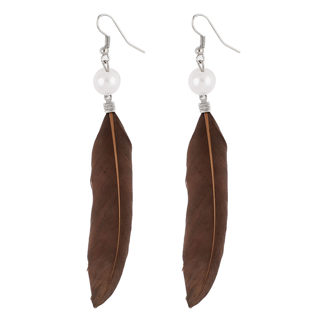Women Faux Feather Pendant Fish Hook Dangle Earrings Eardrop Pair Brown