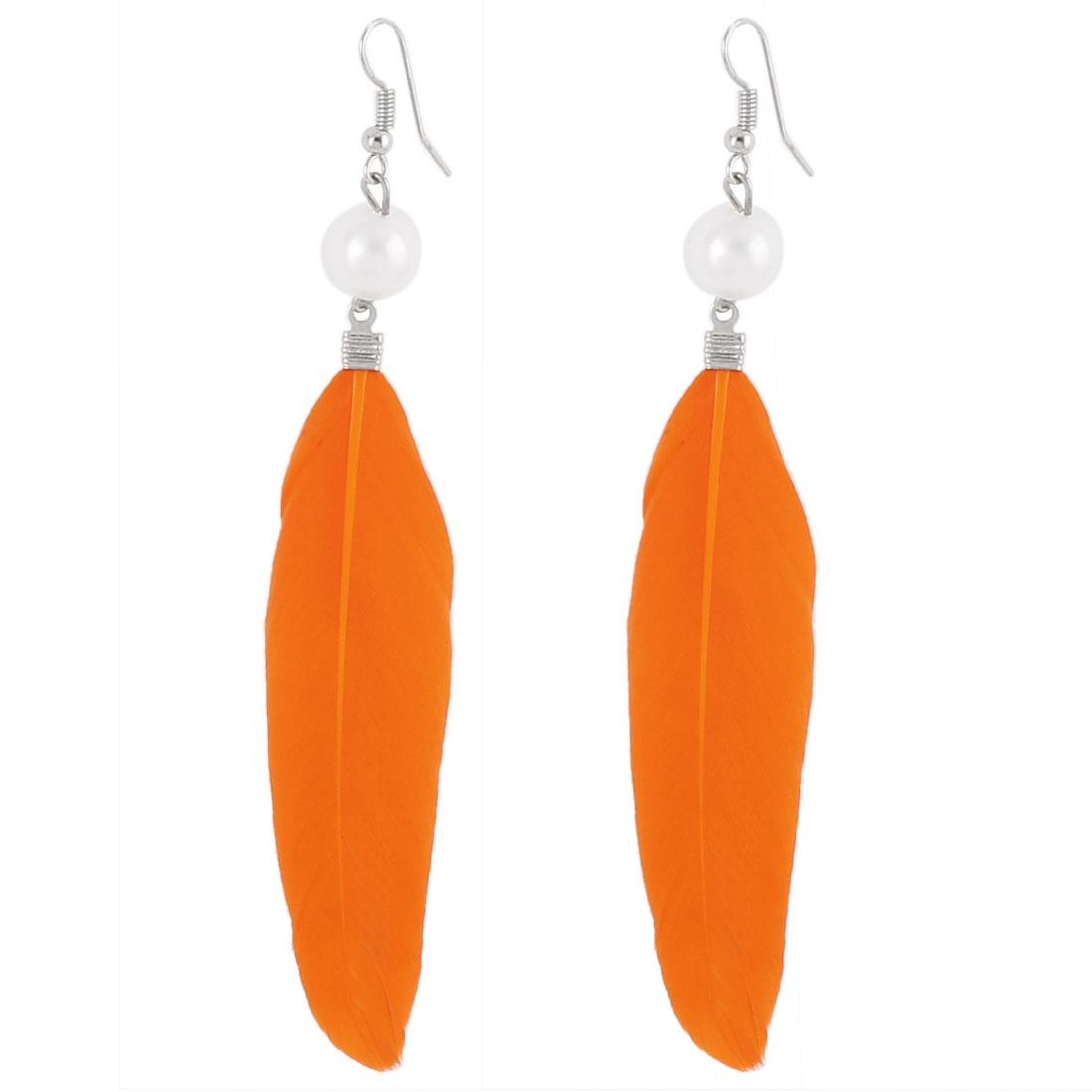 Women Faux Feather Pendant Fish Hook Dangle Earrings Eardrop Pair Orange