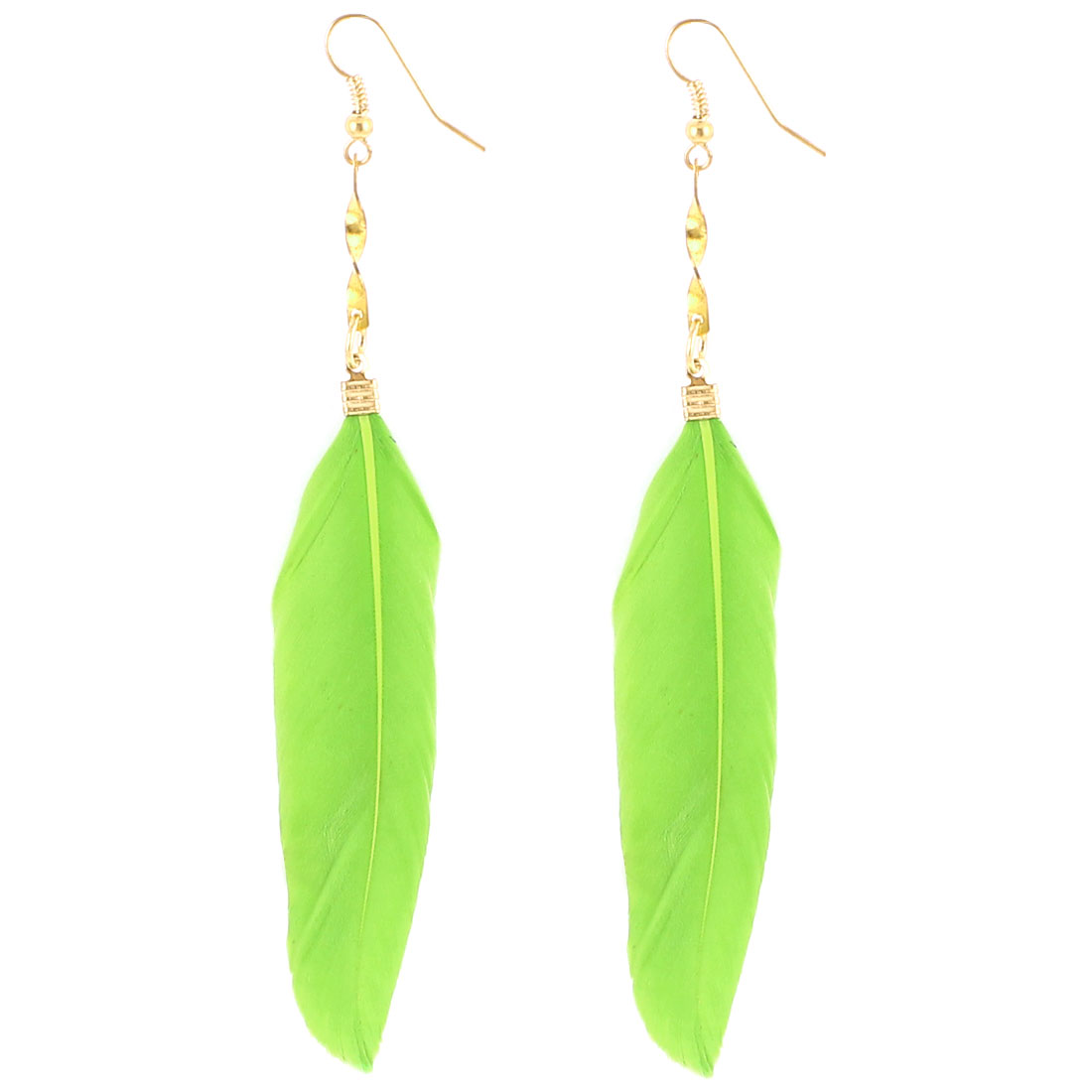 Lady Faux Feather Pendant Fish Hook Dangling Earrings Eardrop 2 Pcs Pale Green