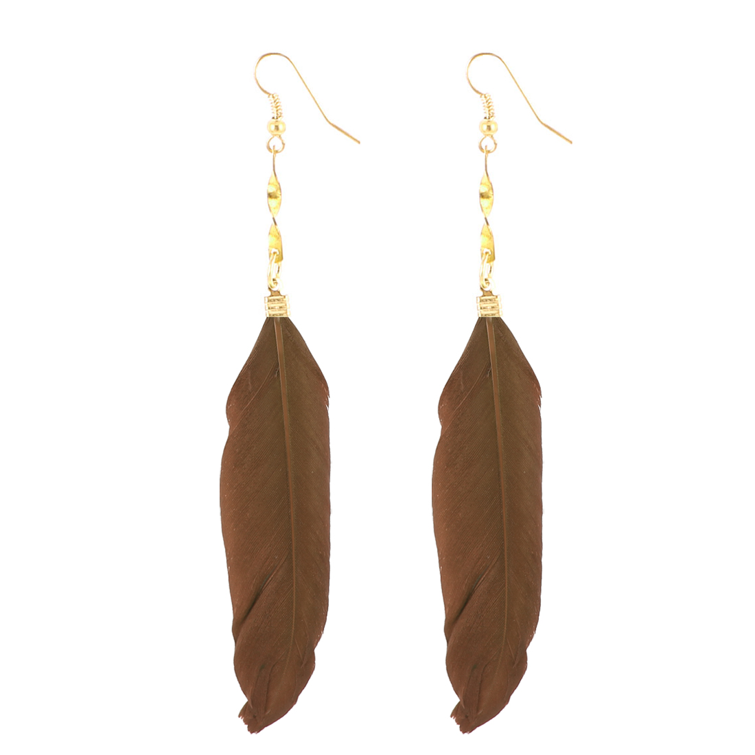 Lady Faux Feather Pendant Fish Hook Dangle Earrings Eardrop 2 Pcs Brown