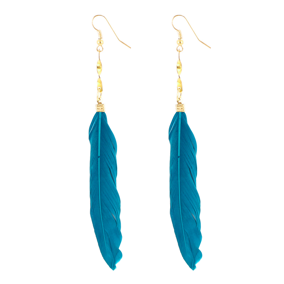 Lady Faux Feather Pendant Fish Hook Dangle Earrings Eardrop 2 Pcs Blue