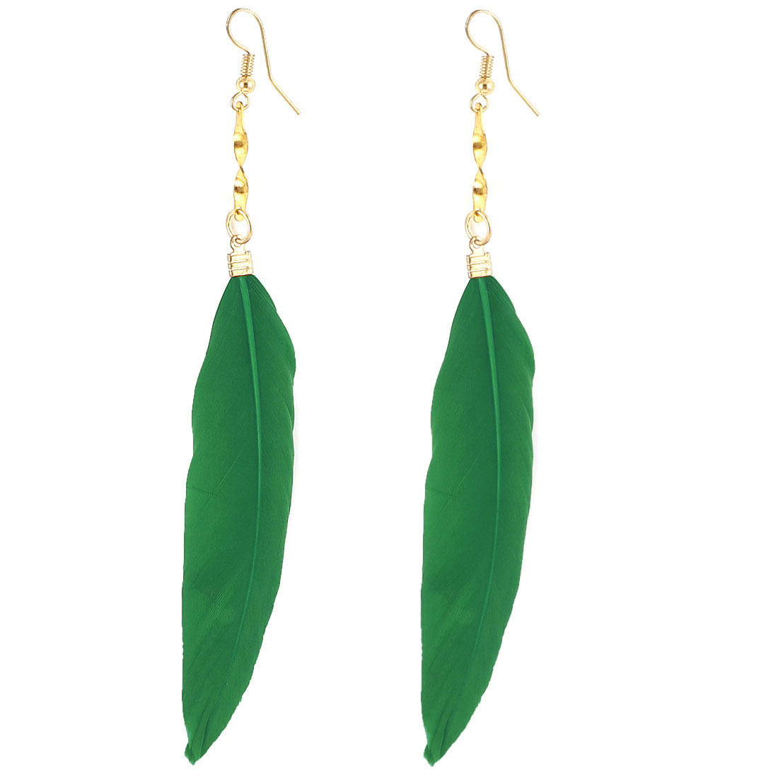 Lady Faux Feather Pendant Fish Hook Dangle Earrings Eardrop 2 Pcs Green