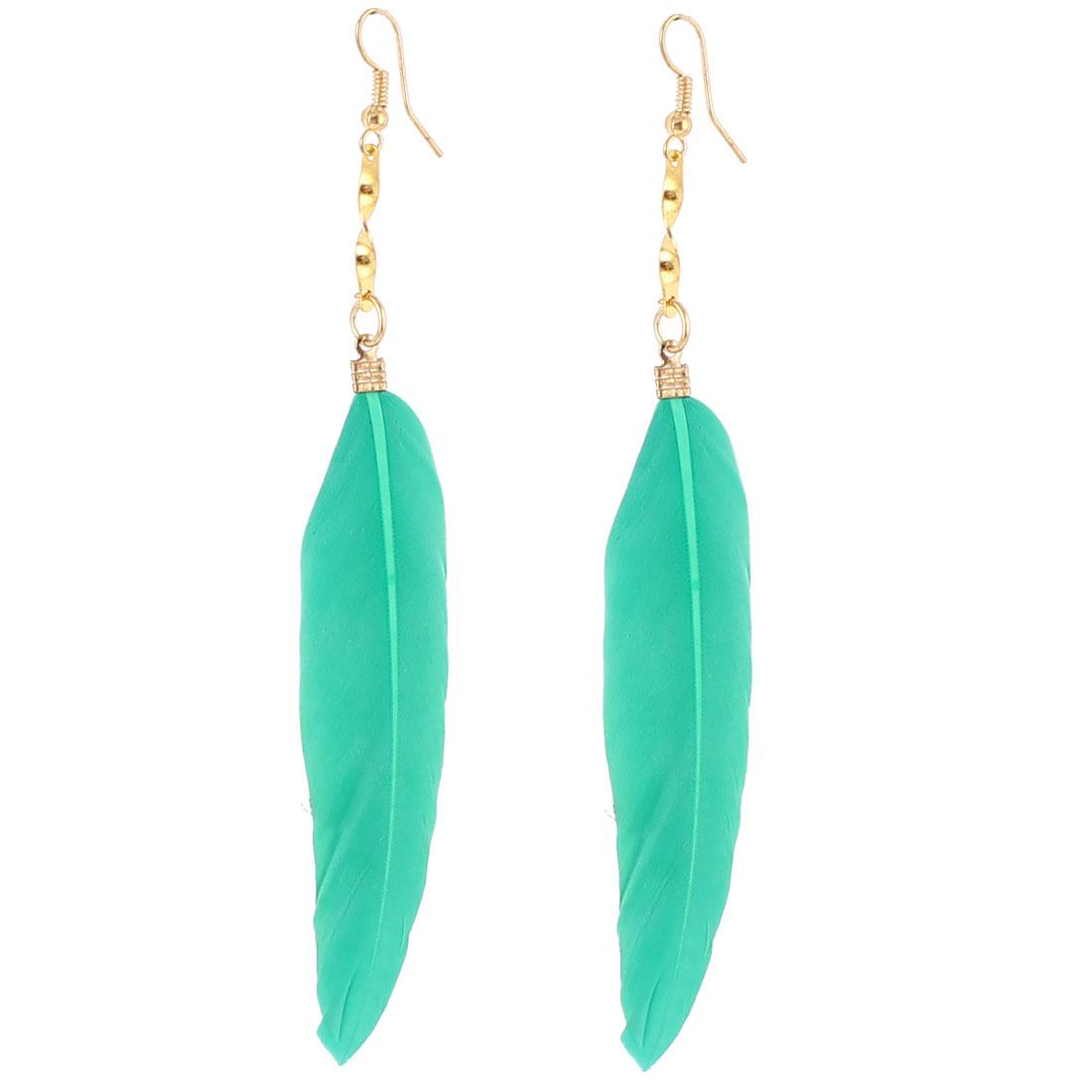Lady Faux Feather Pendant Fish Hook Dangle Earrings Eardrop 2 Pcs Teal
