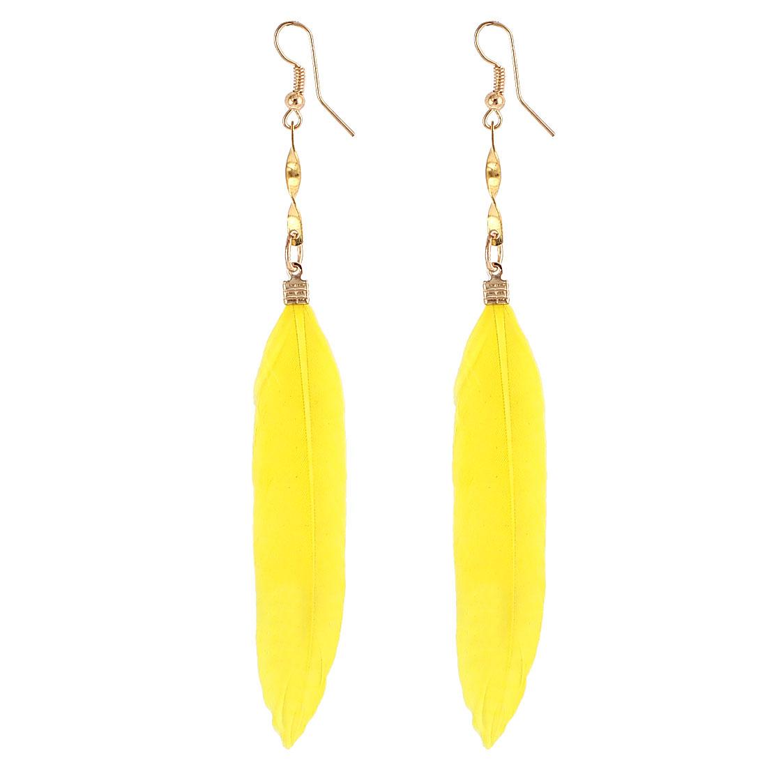 Lady Faux Feather Pendant Fish Hook Dangle Earrings Eardrop 2 Pcs Yellow