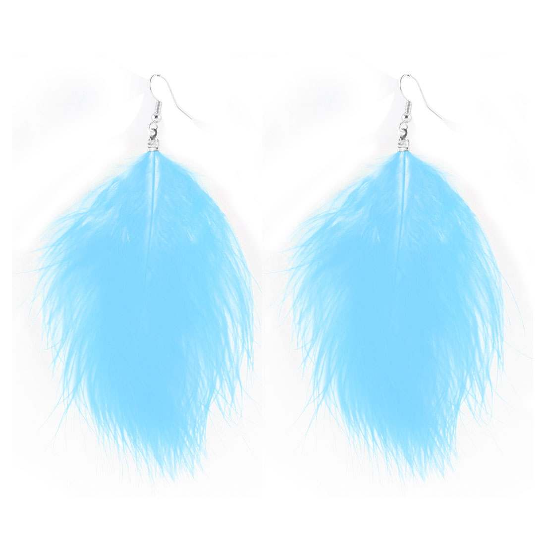 Ladies Long Faux Feather Pendant Dangle Fish Hook Earrings Ear Decor Pair Blue