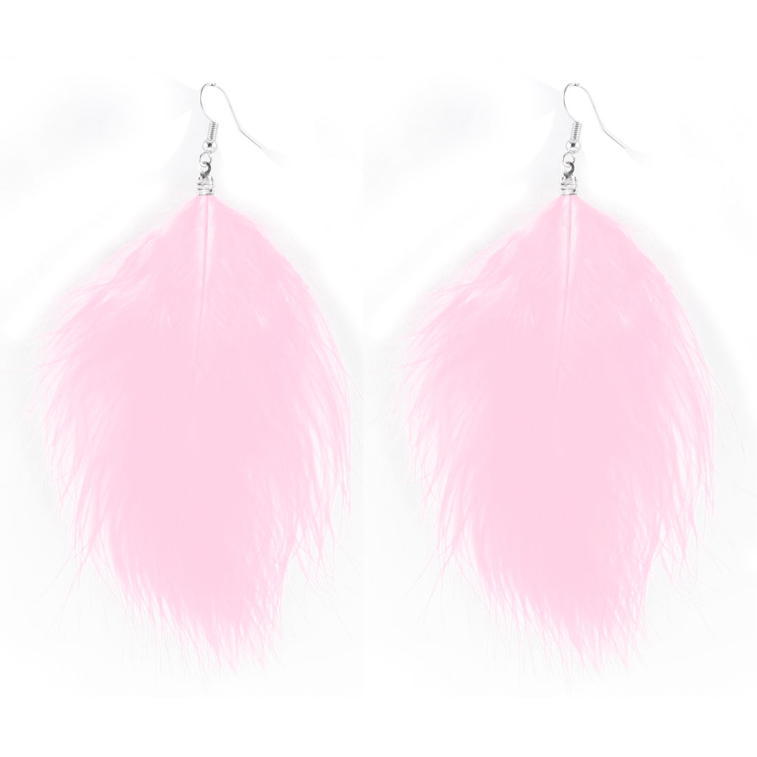 Lady Long Faux Feather Pendant Hanging Fish Hook Earrings Ear Decor Pair Pink