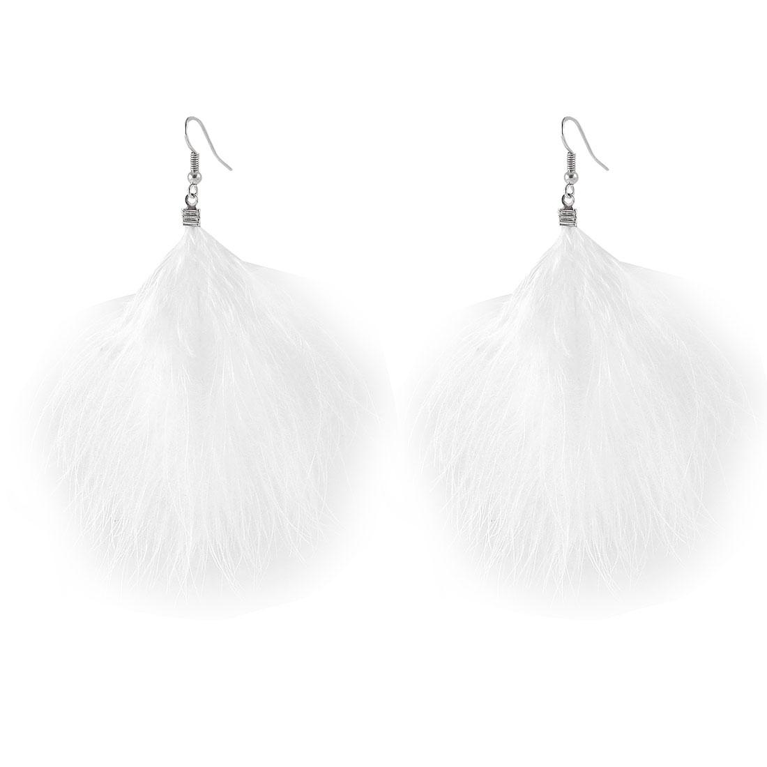 Ladies Long Faux Feather Dangling Fish Hook Earrings Eardrop Pair White
