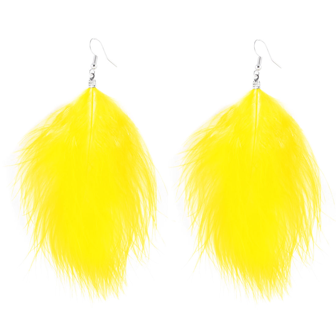 Woman Long Faux Feather Dangle Fish Hook Earrings Ear Findings Pair Yellow