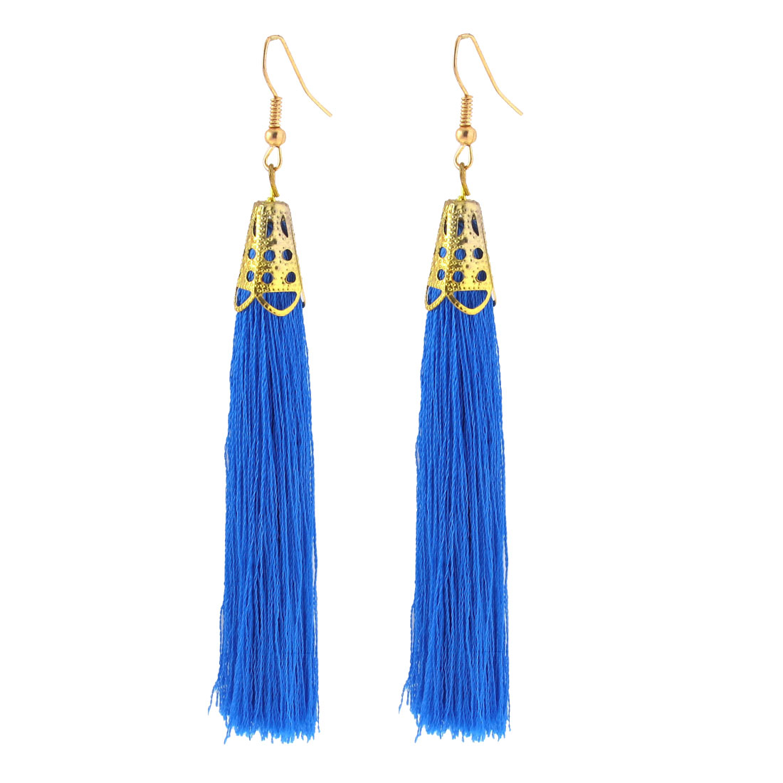 Gold Tone Fish Hook Long Nylon Tassel Drop Earrings Eardrop 2 Pcs Blue