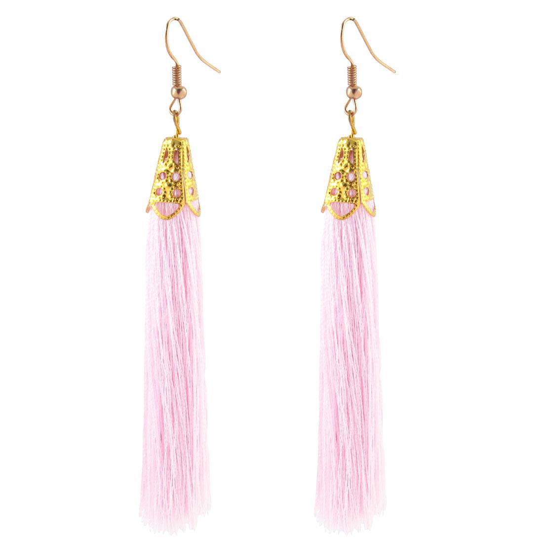 Fish Hook Charm Tassel Drop Earrings Eardrop 2 Pcs Pink Gold Tone