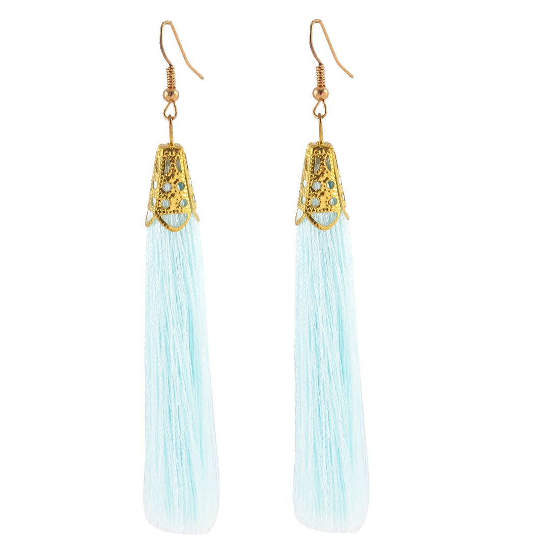 Fish Hook Long Nylon Tassel Drop Earrings Eardrop 2 Pcs Blue Gold Tone