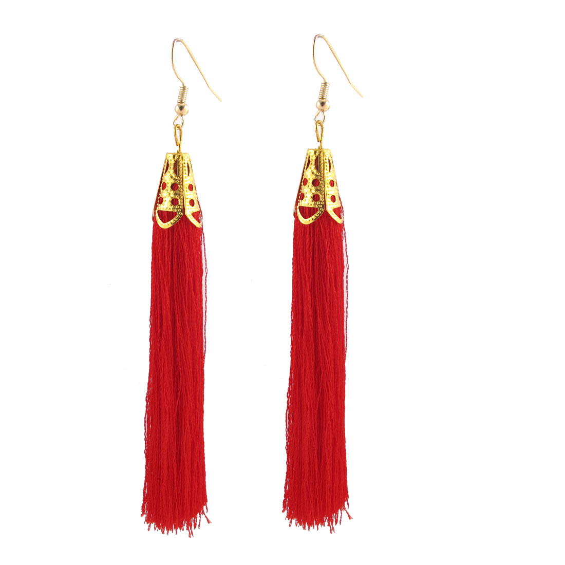 Fish Hook Style Charm Tassel Eardrop Dangle Earrings 2 Pcs Red