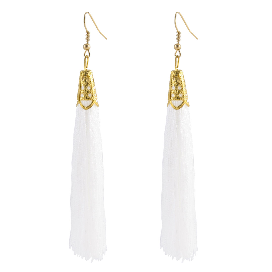 Fish Hook Long Nylon Tassel Drop Earrings Eardrop Gift 2 Pcs White