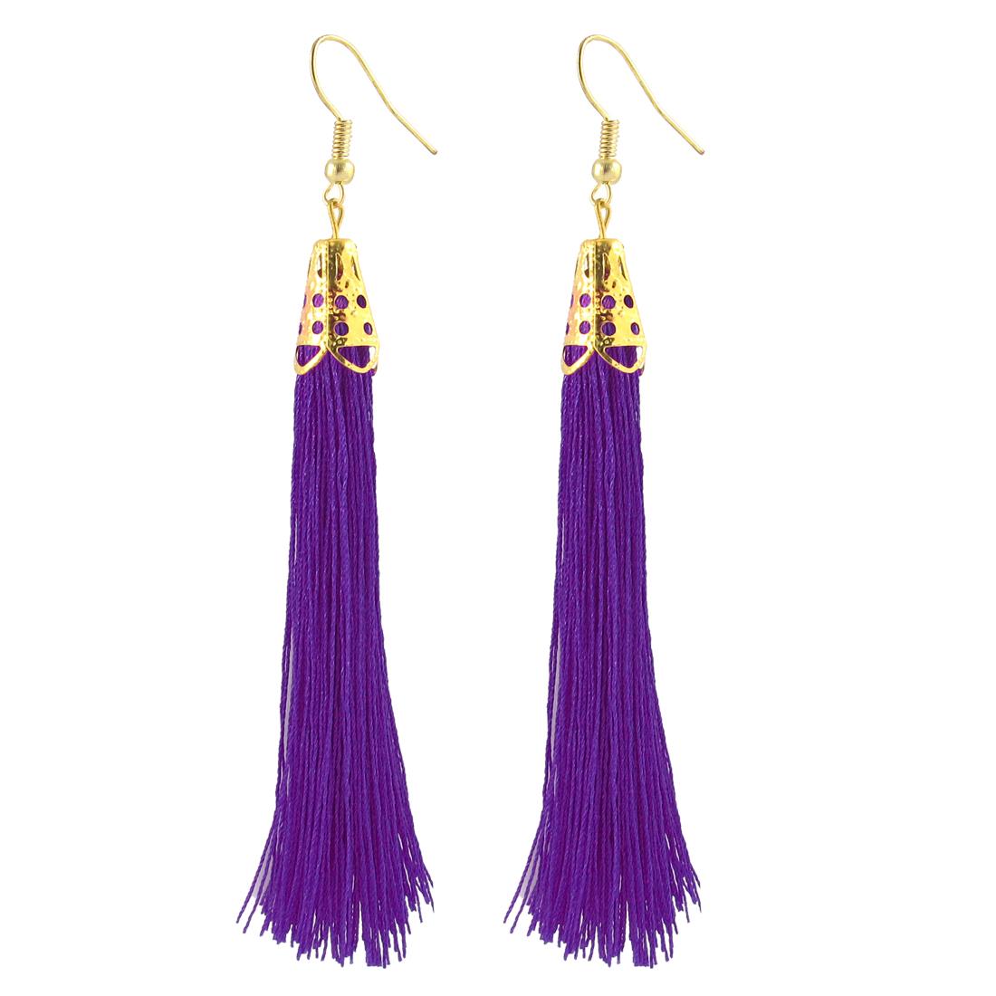Metal Fish Hook Charm Hanging Long Tassel Earrings Eardrop Gift Pair Purple