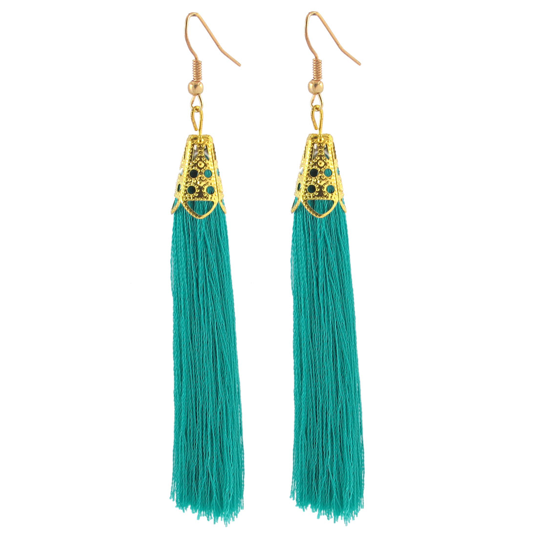 Bead Decor Fish Hook Long Nylon Tassel Earrings Ear Drop 2 Pcs Green