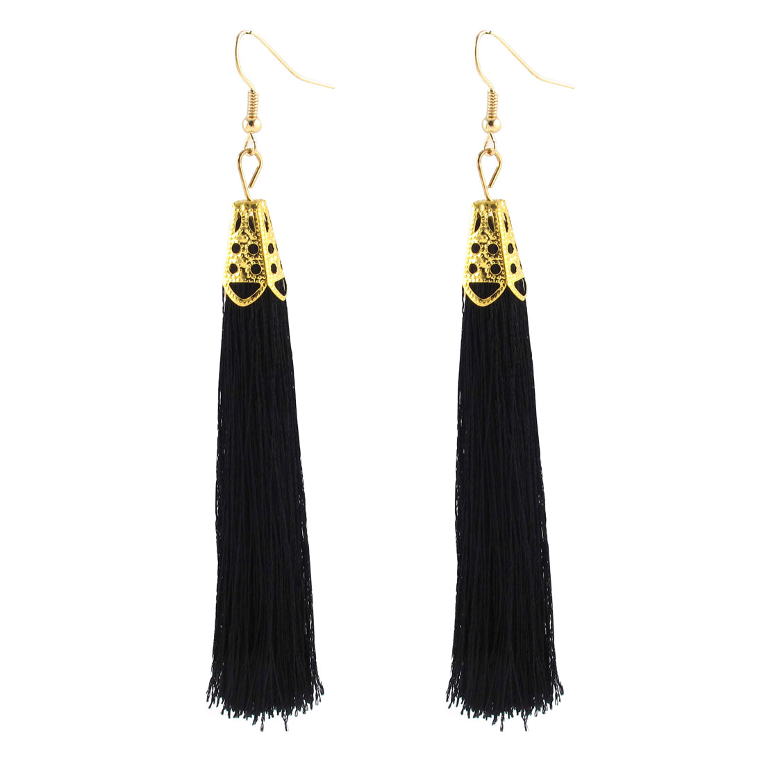 Fish Hook Design Charm Tassel Pendant Earrings Eardrop 2 Pcs Black for Lady