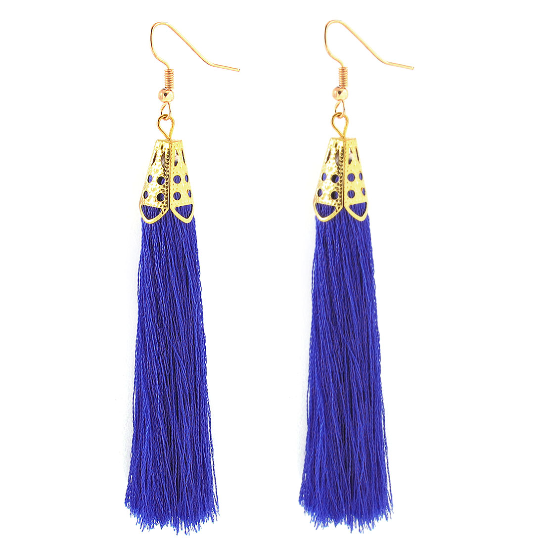 Fish Hook Long Nylon Tassel Drop Earrings Eardrop 2 Pcs Royalblue