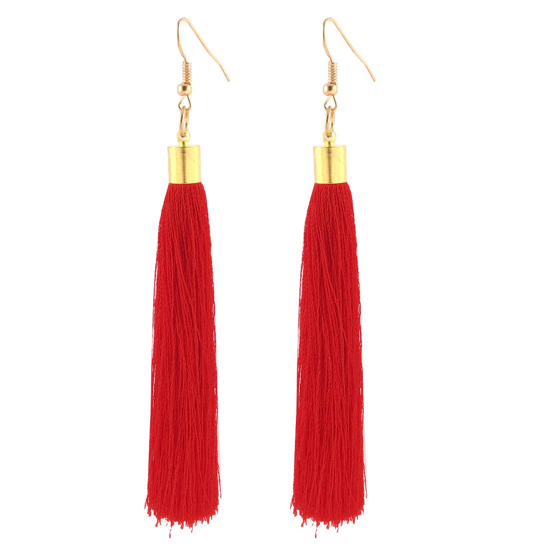 Dangle Fish Hook Nylon Tassel Fringed Earrings Pair Red