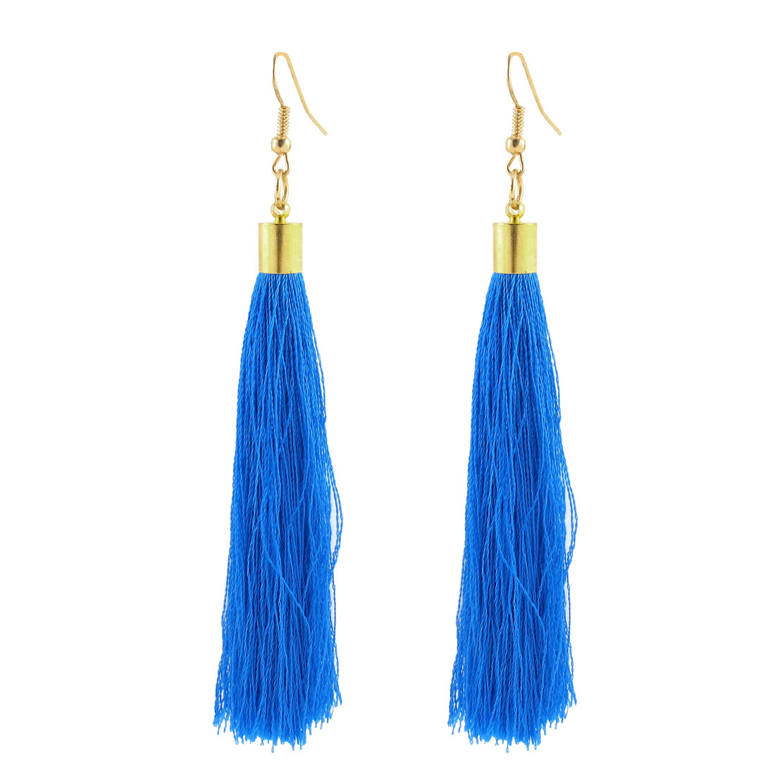 Woman Decoration Mini Bead Decor Hook Tassel Pendant Dangler Earrings Pair Blue