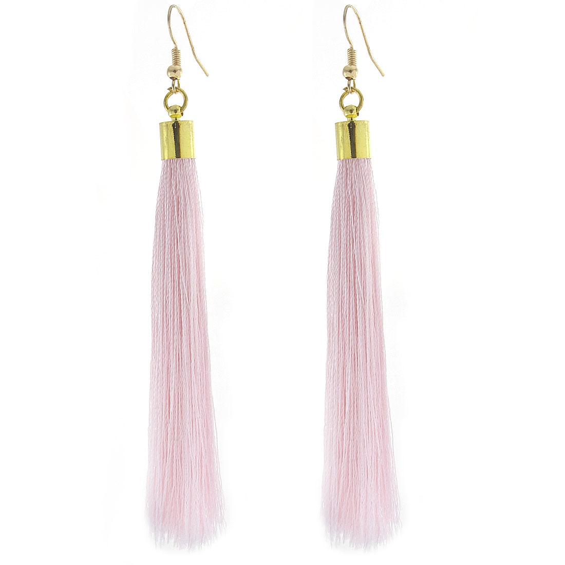 Ear Hook Dangle Tassel Fringed Earrings Eardrop Pair Pink